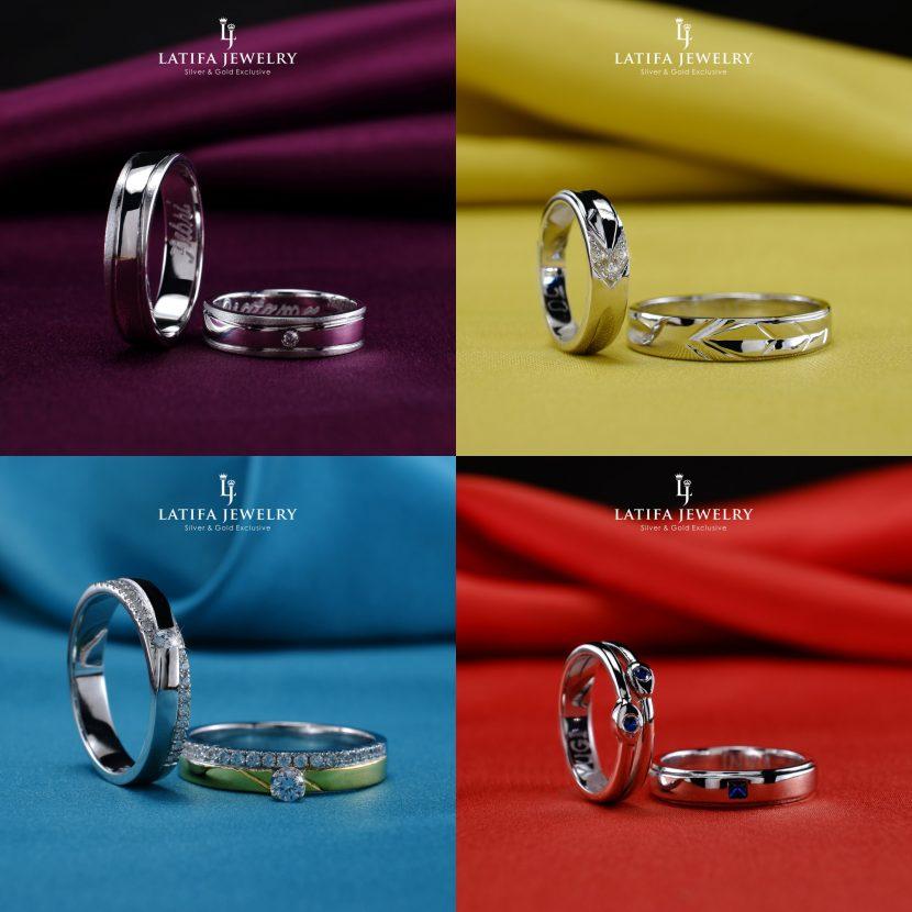 Cincin nikah kawin tunangan couple Bontang custom pin emas perak palladium platinum platina silver Jual Beli bikin cincin murah